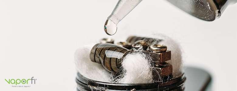 dripping vape juice on cotton wick